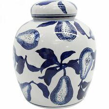 French Pear Blue and White Ceramic Ginger Temple Jar Hamptons Coastal Home Decor
