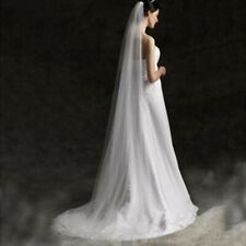 Long Prom Gown Simple Wedding Bridal Veil Cathedral With Comb 2M E7CX