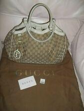 Authentic Signature Gucci Sukey Handbag Cream Leather Trim Medium