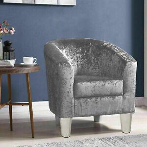 Silver Velvet Arm Chair Tub Chair Lounge Armchair Occasional Accent Sofa Chair