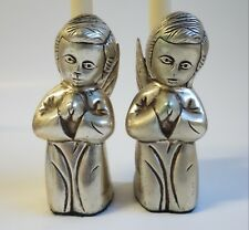 Vintage Silver Plate Praying Angel Candle Holders Figurines India Christmas