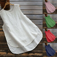 Women Plus Size Linen Vintage Solid Sleeveless O-Neck Loose Vest Tank Top Blouse