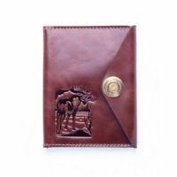 Elk Brown Leather Holder Cover Id Passport Document Premium Comfortable Save