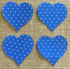Pack of 4 Small Hearts - Fabric Iron on - Blue Polka Dot -Personalisation