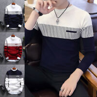 Men Long Sleeve Sweater Jumper Knit Pullover Tops Crew Neck Winter Fall Casual