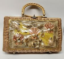 """Vintage Rattan Purse with Front Plastic """"Window"""" Covering Sea Shells"""