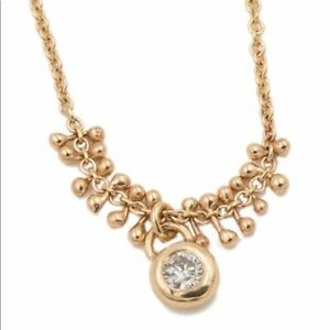 """Love Audry Rose Gold Bead Diamond Drop Necklace 14k Yellow Gold 18"""""""