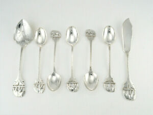 VINTAGE WHITE METAL CREAM TEA SET JAM SPOON BUTTER SPREADER & 5 TEASPOONS c1930s
