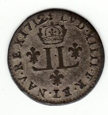 French Colonial Very Nice 1712/1 AA billon 15 deniers half Mousquetaire