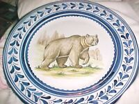 VINTAGE,VERY  LARGE WILD BEAR CHARGER, PLATE, 13' across, FLO BLUE TRIM