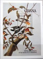 Ghana 1985 bloque 119 S/s 984 fauna flora Audubon pintor investigadores birds pájaros mnh