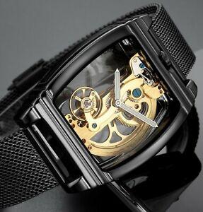Mens Flywheel Bridge Movement Exhibition Manual Mechanical Wrist Watch Gold