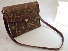 Mark Cross Italy Brown Equestrian Crest Crossbody Handbag