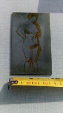 """Ancienne plaque imprimerie métalique""""une dame nue """""""