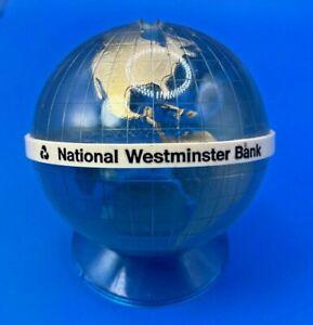 Vintage National Westminster Bank Blue Globe Money box No Key Nat West Retro