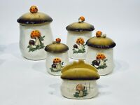 Vintage Ceramic Merry Mushroom Canisters Set Sears, Roebuck and Co 1978 Japan