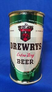 DREWRYS EXTRA DRY BEER YOUR CHARACTER GREEN 12 FLUID OZ FLAT TOP CAN ~ STUNNING
