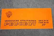 VEHICULES UTILITAIRES PEUGEOT 204 - 404 - J7  fourgon Dépliant Publicitaire 1970