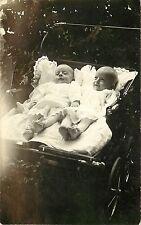 RPPC Postcard Twin Babies in double buggy Dual perambulator