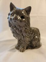 Vintage Gray Cat Planter Home Hobbyist Ceramic