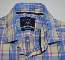 Charles Tyrwhitt Azul Amarillo Rosa De Algodón Camisa Tamaño S Classic Fit Jermyn Street