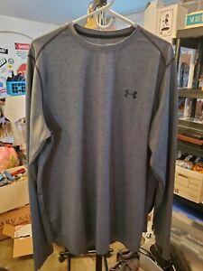 UNDER ARMOUR Mens Heatgear Loose Fit Gray Long Sleeve Shirt XL EUC