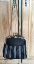 VANITA GREY/BLACK EVENING BAG WITH SILVER CHAIN STRAP/GOOD USED CONDITION
