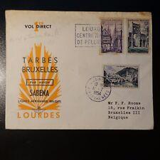AVIATION LETTRE COVER PREMIER VOL TARBES BRUXELLES BELGIQUE 1954