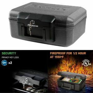FIREPROOF SAFE Hidden Money Document Chest Key Lock Box Portable Keyed Security