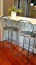 FRENCH  bar stool bench silver black  CHAIR WROUGHT IRON  QUALITY NEW