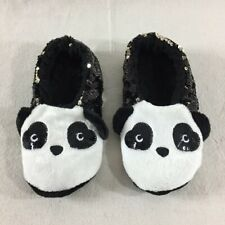 Xhilaration Target Panda Sherpa Black White Sequin Gripper Slippers Size 5-6