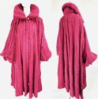 Vtg CESARE COVALINI Mohair Angora Wool Knit Cranberry Avant Garde Long Coat, M