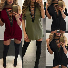 Women Choker V Neck Casual Loose Tops T-Shirt Lace-up Plunge Mini Dress New