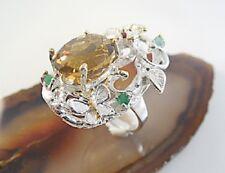 Ring, Einzigartiger natürlicher Ring aus 925er Cognacquarz,  N56