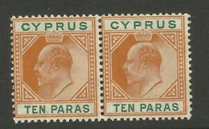 CYPRUS EDVII 1904/10 Sg 61, 10pa Orange & Green Pair, UnM/Mint with gum. {B5-40}