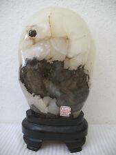 Suiseki Scholar Stone Calcite White Black 13 Lb Display Piece Rock Wood Stand