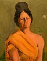 HANS PAAP Original Vintage Hudson River Impressionist Lady Portrait Oil Painting