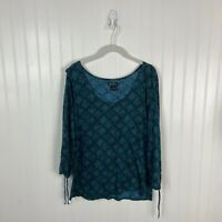 Lucky Brand Medium Top Blue Green Floral Boho Peasant Women Casual Scoop Neck