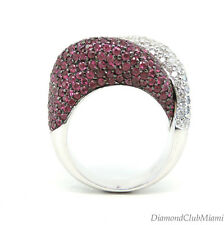 Estate 4.54ct Diamond & Ruby Heavy 18K Gold  Wide Ring  33.4 grams