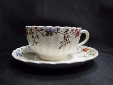 "Spode Wicker Dale, Floral on Chelsea Wicker: Cup & Saucer Set (s), 2 1/8"" Tall"
