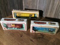 Vintage HO Scale Train Cars Lot Of 3 Caboose Quad Hopper Box Car Bachmann J8