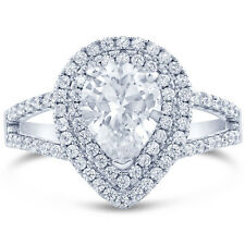 Double Halo Forever One DEF Pear Shape Engagment Ring With Diamond Sides PE12