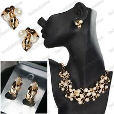 CLIP ON leaf CREAM PEARL CRYSTAL big necklace earrings set GOLD PLATED leaves