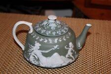 Cameo Teapot Green Color Woman Birds Angel Cherub