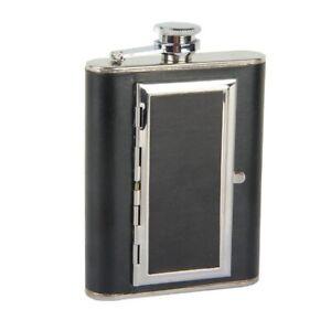 6oz Flask Cigarette Flagon Leather Bottle Hip Flask Whiskey Alcohol Metal Liquor