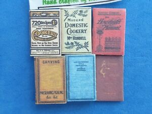 1:12 Scale, 6 Cookery Vintage Books Non-opening1800's Crafted By Ken Blythe