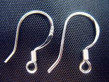 Free 50PCS 925Silver Sterling EARRING HOOK COIL EAR WIRE Earring Findings 15MM