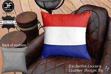 "NETHERLAND FLAG COLOUR LEATHER 1X EXCLUSIVE LUXURY CUSHION 18""x18"" MID GREY BACK"
