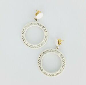 Vintage White Enamel Drop Dangle Hoop Pierced Earrings