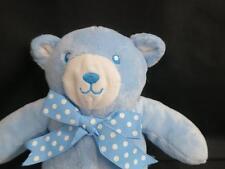 PLUSH SOFT BABY SHOWER BOY TEDDY BEAR RATTLE BLUE POLKADOT BOW STUFFED ANIMAL